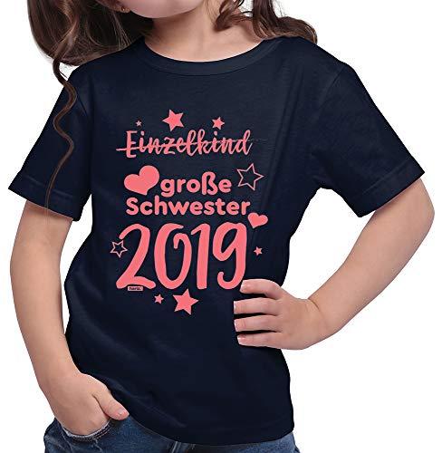HARIZ  Mädchen T-Shirt Einzelkind Große Schwester 2019 Sterne Große Schwester Geschwisterliebe Bruder Geburt Plus Geschenkkarte Deep Navy Blau 104/3-4 Jahre (Große-bruder-schwester-shirt)