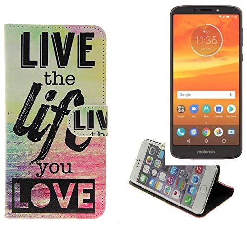 K-S-Trade Für Motorola Moto E5 Plus Dual-SIM 360° Wallet Case Schutz Hülle ''live The Life You Love'' Schutzhülle Handy Hülle Handyhülle Handy Tasche Etui Smartphone Flip Cover Flipstyle für Motorol