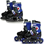 SK8 Zone Boys Blue 2in1 Roller Blades Inline Skates Adjustable Size Childrens Kids Pro Combo Multi Ice Skating Boots Shoes New