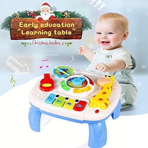 ACTRINIC Table d'étude Musicale Jouet pour Les bébés de 6 à 12 Mois Jouet de l'éducation précoce Jouet Musical Table de Jeux Jouet pour Les Enfants DE 1,2 et 3 Ans-Lumières et Sons différents