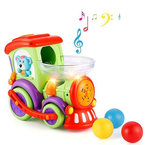 LUKAT - Coche de juguete,Tren de Niños,eléctrico para niños pequeños,la actividad de la bola, luces y música, mejor regalo de educación,temprana y juguetes de entretenimiento para niños y niñas