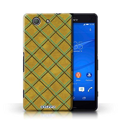 Kobalt® Imprimé Etui / Coque pour Sony Xperia Z3 Compact / Bleu/Violet conception / Série Motif Entrecroisé Jaune