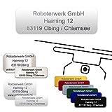 Roboterwerk Drohnenkennzeichen Glas – Titan – Aluminium inkl. Pilotenkarte Drohnen Plakette feuerfest / Kennzeichnung / Drohne Kennzeichen