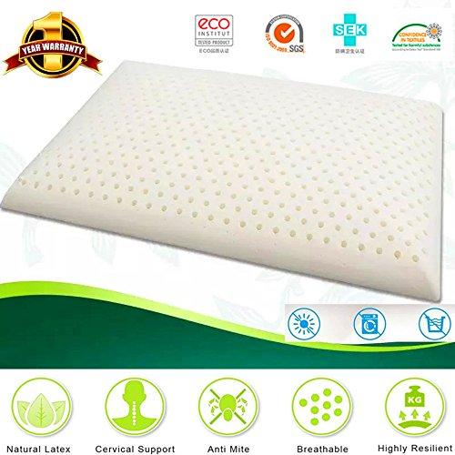 Látex almohadas de espuma Deep Sleep antirronquidos antiácaros antialérgico Confort de lujo Natural de masaje con 100% de ventilación Filler contorneado media fuera de viaje beding L: 23.4'x W: 15.6' x H: 2,7'