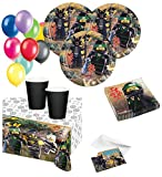 XL 55 Teile Ninjago Party Deko Basis Set - für 8 Kinder - Ninja