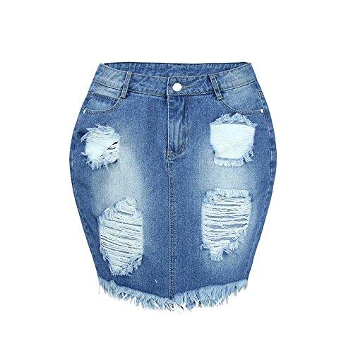 Damen Jeansrock Jeans Minirock Löche Überknie
