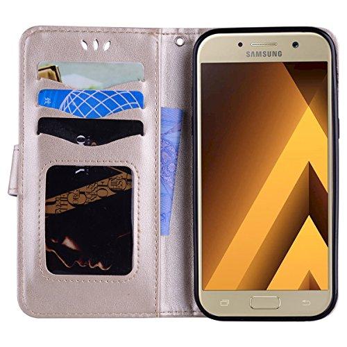 Coque Samsung Galaxy A5 (2017) , Bling Glitter Licorne Étui Protection Wallet PU en Cuir Housse la Haute Qualité Pochette Anti-rayures Couverture Bumper Rabat Magnétique Antichoc Cuir Véritable Case A Or