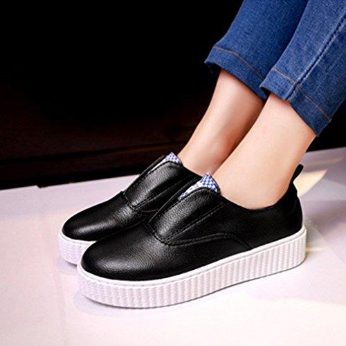 Damen Slipper Slip On Rundzehen Flache Niedrige Freizeitschuhe Dicke Sohle Schnellverschluss Einfache Modische Weiß-Schuhe Schwarz tScycSWA
