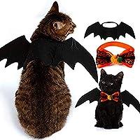 Paquete de 2 disfraces de Halloween para mascotas, alas de murciélagos para mascotas y corbatas