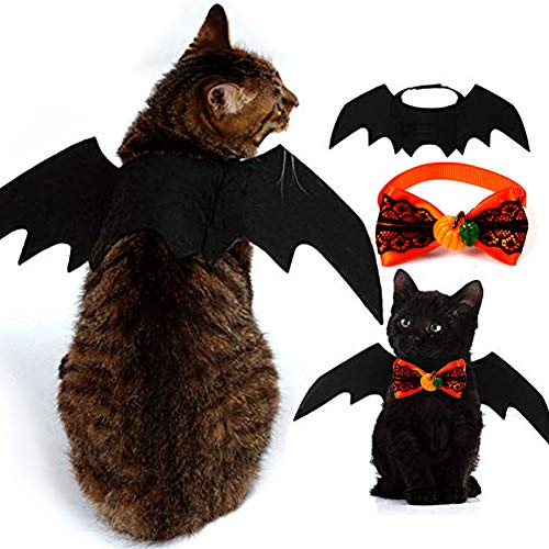 2 Pack Halloween Pet Kostüm, Pet Fledermausflügel und Pet Fliege, Pet Bekleidung Kleine Hunde Katzen, geeignet für süße Kätzchen und Welpen usw. Haustier - Kostüm Für Katzen Kätzchen
