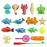 NaiCasy Angeln Spielzeug, Baby Badespielzeug 15 Stück Magnetic Net Angelspiel Angeln Lernen Bildung Spielen Set Outdoor Fun Beste Geschenk für Kinder (Bunt)