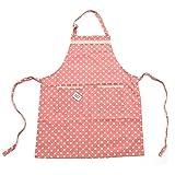 Pink Papaya Schürze, Kochschürze für Frauen und Männer aus 100% Baumwollleinen, Küchenschürze EMMA, Farbe: pink/weiß gepunktet mit Spitzenapplikationen