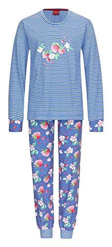 Cooler Mädchen Pyjama langarm mit Bündchen gestreift - 161 401 90 838, Farbe:blau;Größe:176 (Cooler Pyjama)