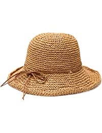 Fzwang Señoras Sombrero sombrilla Plegable Mano Tejida Rollo Lado Ocio los Pescadores  Sombrero Paja 60cm 1f70a008a91