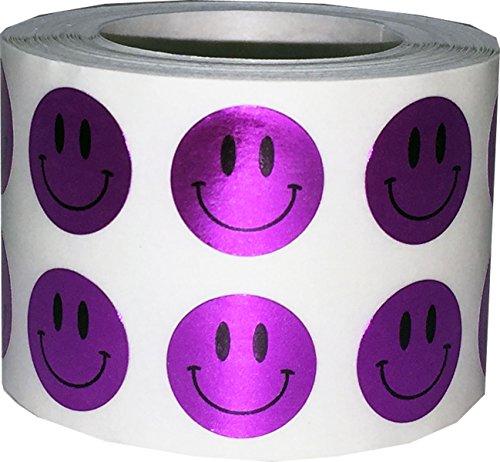 Brillante Púrpura Smiley Cara Circulo Punto Pegatinas, 13 mm 1/2 Pulgada Redondo, 1000 Etiquetas en un Rollo