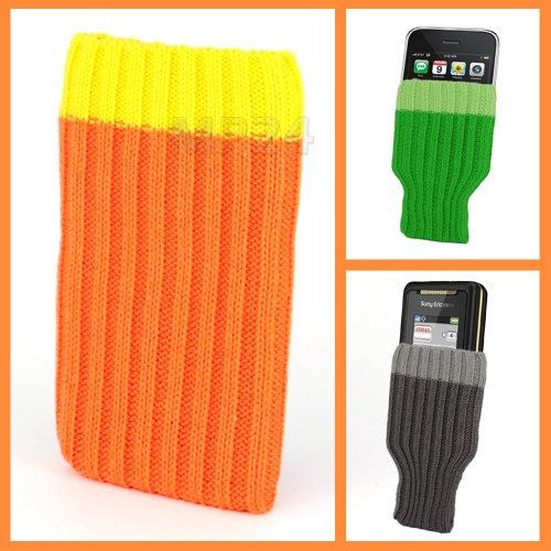 Incutex Handysocke Textilsocke Handy Sleeve orange Handytasche aus Textil für iPhone 3 4 5 iPod MP3-Player usw.