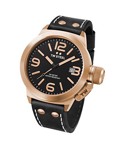 Reloj Cuarzo TW Steel Para Unisex Con  Negro Analogico Y Negro Cuero CS71