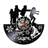ttymei Skater Vinyl Record Orologio da Parete Decorazioni per la casa Skate Boarding Sport Orologio da Tempo Skate Wall Art Decor Il miglior Regalo per Il Pattinatore