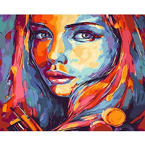 OKOUNOKO Malen Nach Zahlen Für Erwachsene Bild Ölgemälde by Zahlen Wanddekor DIY Malerei Auf Leinwand Für Wohnkultur Mädchen Malerei Rahmenlos 40X50Cm (Für Kostüm Mädchen Filmstar)