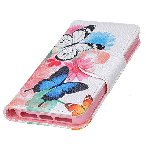 Apple iPhone SE Hülle im Bookstyle, Xf-fly® PU Leder Flip Wallet Case Cover Schutzhülle für Apple iPhone SE/5/5s Tasche Handytasche Schutz Etui Schale Handyhülle P-20