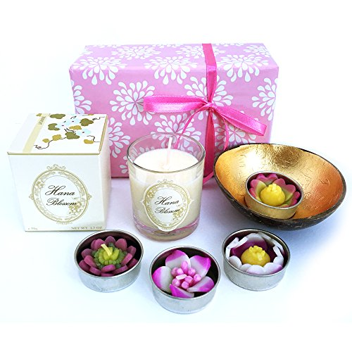 Handmade-fair-trade-scented-votive-natural-wax-candle-and-4-handmade-fair-trade-scented-flower-tealight-candles-with-handmade-golden-coconut-shell-tealight-holder-gift-box-set