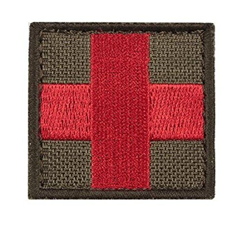 Yisibo Tactical Patches 2 Stück Gestickt Moral Military Patch über SERVICE DOG Red Cross Punisher(Platz, Rotes Kreuz-Ranger Grün) (Besticktes Leinen Hut)