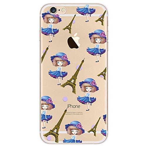 Cover iPhone 7 [Pellicola Protettiva in Vetro Temperato], Bestsky Cute Cartone Animato Colorato Fiore Pattern Trasparente Gel Silicone Bumper Case Custodia Per iPhone 7, Fenicotteri Blue Skirt Girl