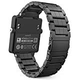 MoKo Armband für Garmin Vivoactive - Edelstahl Replacement Watchband Strap Uhrenarmband Erstatzband mit Metallschließe Watch Band für Garmin Vivoactive Sports GPS-Smartwatch, Schwarz