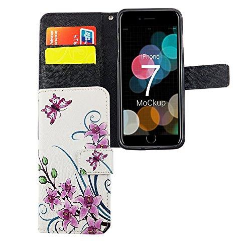 König-Shop - Handyhülle Schutz Tasche Case Cover Wallet Kunstleder 360 Grad Standfunktion, Farbe:Marshmallows, Größe:Apple iPhone 7 Lotusblume