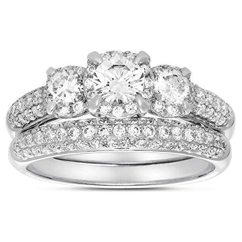 2carati tre pietra trilogy con diamante rotondo anello nuziale set in oro bianco per le donne, oro bianco, 48 (15.3), cod. rhjgjat26