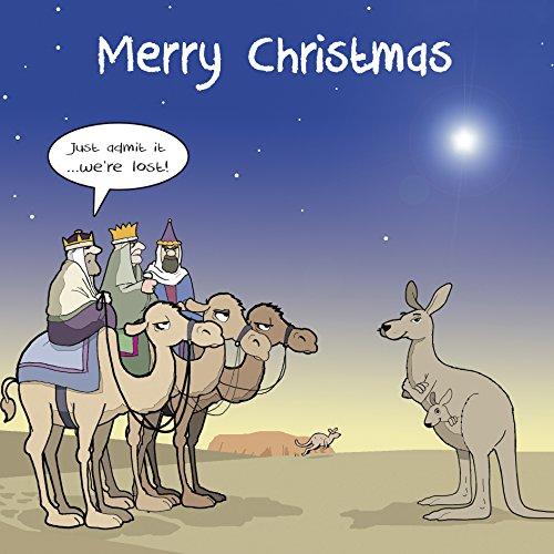 Twizler Weihnachtskarte, lustiges Design, Motiv: 3 weise Männer mit Kamelen und Känguru,für Damen und Herren geeignet, mit englischer Aufschrift (Mit Mann Kamel)