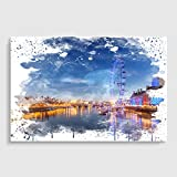 Arty Pie London Eye Landschaft Themse 2 V3 Poster Print, Mehrfarbig, A3/16,5 x 11.7-inch