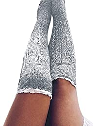 DOGZI Mujer Señoras de encaje de punto calcetines de rodilla medias mujer Calcetines hasta el muslo