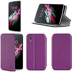 Etui luxe Alcatel Onetouch IDOL 3 5.5 pouces violet Slim Cuir Style avec stand - Housse coque de protection Alcatel Onetouch IDOL 3 5.5 (nouveau smartphone 2015) violette Dual Sim - Prix découverte accessoires pochette XEPTIO : Exceptional case !