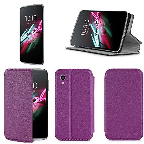 Alcatel Onetouch IDOL 3 4.7 zoll 4G/LTE Dual Sim Tasche Leder Hülle violett lila Cover mit Stand - Zubehör Etui Alcatel Idol 3 4.7 Flip Case Schutzhülle (PU Leder, Handytasche schwarz purple) - XEPTIO accessories