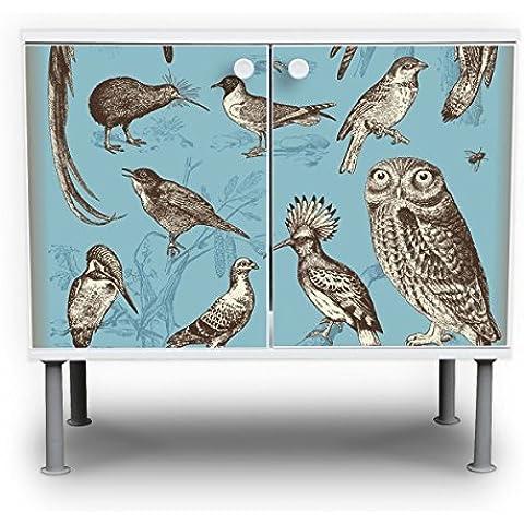 banjado–Mueble de baño (60x 55x 35cm lavabo armario color blanco altura regulable con diseño pájaros