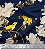 Soimoi Blau Seide Stoff Blumen & Blätter Vogel Vogel Stoff