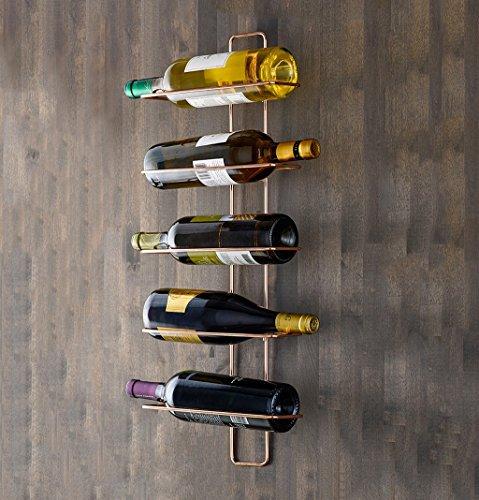 PQ Ⓡ Weinregal Schmiedeeisen-Rotes Kupfer-Wand-Hängen 5 Flaschen Rotwein Vorzüglich und Schön Einfach zu Verwenden Wilder Art-Starker Lager-Zupacken Convenience Keine Verformungs-Kein Verblassen