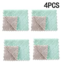 SMAQZ Dish Cloths,Cleaning Towels with Double Layer Absorbent Thicker Scourer Non-Stick Rag Pad Oil Kitchen Towel for Tableware Cleaning Tools 4Pcs,E