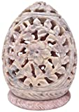 Soapstone Tealight / Candle Holder - Votive Candle Holders Stone Sculpture - Decorative Lamp / Lantern with Intricate Floral Work on Sides and a Rosette on the Top - Handmade Home Decor Gifts from India