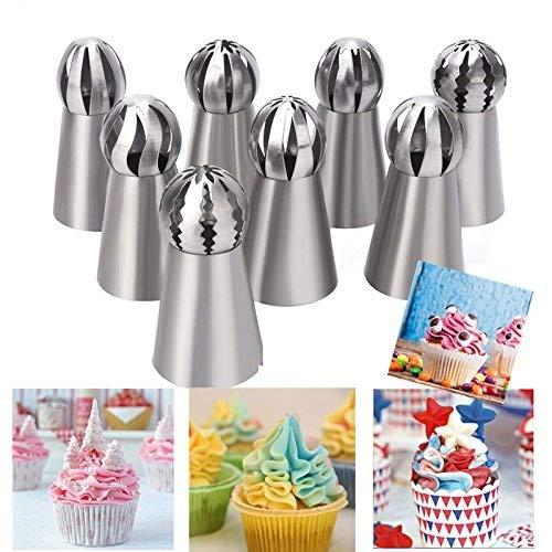 ddfly 8Russische Paspelierung Tipps Blume Kuchen Spritzbeutel Düsen Ball DIY Backen Kuchen dekorieren Supplies Kits (zufällige Stil) Kuchen-tipp
