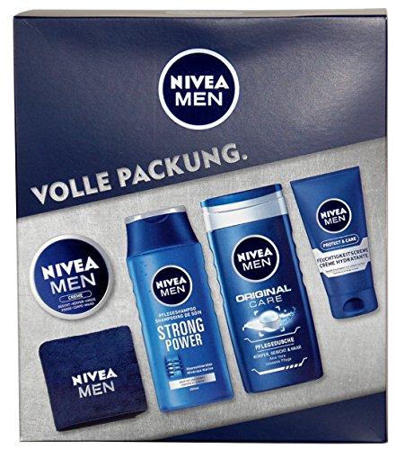 NIVEA Men Geschenkset 5-tlg, mit Shampoo, Duschgel, Feuchtigkeitscreme, NIVEA Creme & NIVEA Sport-Handtuch