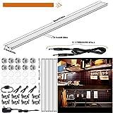 4er Lichtleiste LED Unterbauleuchte 4W Kaltweiss Küchenlampe Energiesparend Schrankleuchte Küchenleuchte unterbau leuchtstäbe mit magnetischem Streifen Schrankbeleuchtung für Küchenschrank hinter Möbel