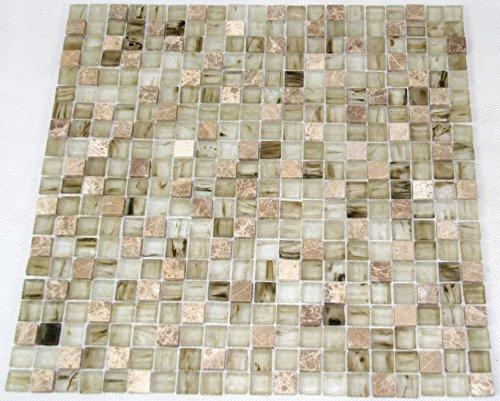Restposten Fliesen Mosaik Mosaikfliesen Glas Stein Mix Beige 6mm Bad Neu  #HO08