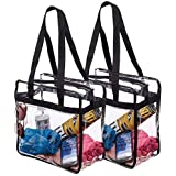 (pack of 1) Clear Tote Bag Bags Handbag Crystal PVC Women Shoulder Fashion Transparent Beach Clear Zippered Safety Tote