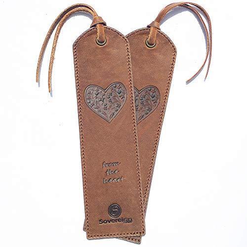 Segnalibro in pelle fatto a mano - Confezione di 2 segnalibri in cuoio originale Crazy Horse per donne e ragazze con un design unico a forma di cuore - Regalo perfetto in pelle per topi di biblioteca