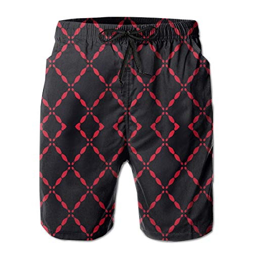Jiger Boardshort Black Bowling Pins Boys Teen Quick Dry Sports TrunksM