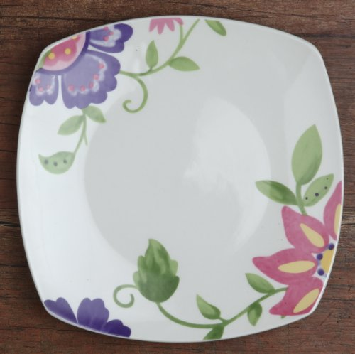 Melange 32-Piece Flowers Square Porcelain Place Setting Serving for 8, Pink