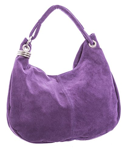 Big Handbag Shop - Borsa a spalla da donna, grande, in vera pelle scamosciata italiana Medium Purple (BG184)