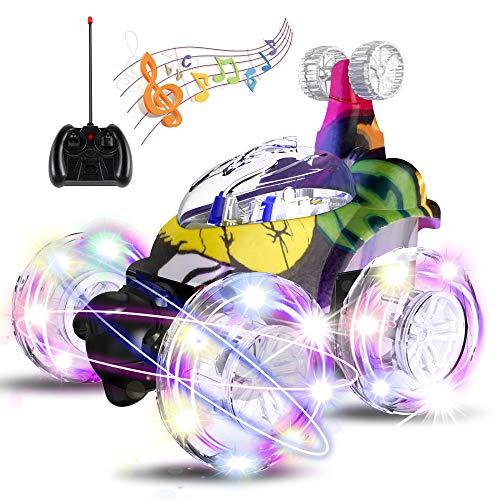 UTTORA Ferngesteuertes Auto, Kinderspielzeug für Jungen Mädchen, Dual Modi 360° Drehbarer Stunt Rennwagen LED-Lichter, USB-Kabel, Kontrollierte Schaltermusik,Motorräder,Geschenk für Jungen Mädchen
